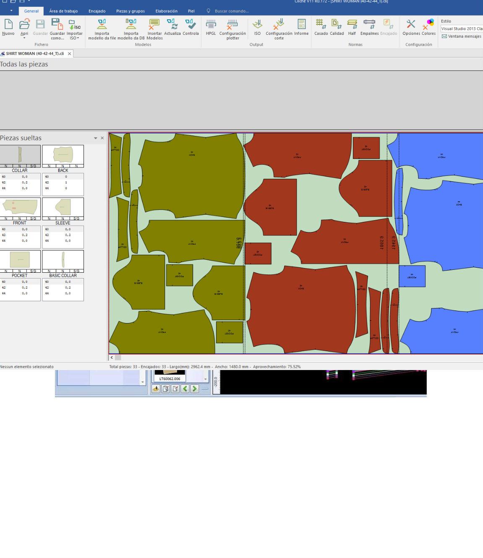 El programa optimiza automáticamente la marcada de los modelos aprovechando al máximo el tejido y mejorando la productividad.